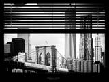 Window View with Venetian Blinds: Landscape View of NYC Center and Brooklyn Bridge - Manhattan Photographic Print by Philippe Hugonnard