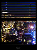 Window View with Venetian Blinds: View of theTops of Skyscrapers in Times Square - Manhattan Photographic Print by Philippe Hugonnard