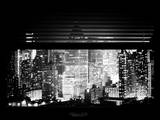 Window View with Venetian Blinds: Cityscape at Times Square Buildings by Night - Manhattan Photographic Print by Philippe Hugonnard