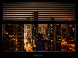 Window View with Venetian Blinds: Landscape by Misty Night - 42nd Street at Times Square Photographic Print by Philippe Hugonnard