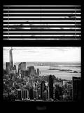 Window View with Venetian Blinds: Cityscape Manhattan Center (1 WTC) and Statue of Liberty View Photographic Print by Philippe Hugonnard