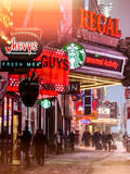Instants of NY Series - Urban Night Street Scene in Times Square in Snow in Winter Photographic Print by Philippe Hugonnard