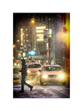 Instants of NY Series - Yellow Taxis at Times Square during a Snowstorm by Night Photographic Print by Philippe Hugonnard