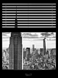 Window View with Venetian Blinds: the Empire State Buildings and One World Trade Center (1 WTC) Photographic Print by Philippe Hugonnard