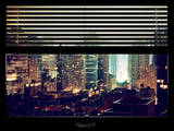 Window View with Venetian Blinds: Landscape by Misty Night - Times Square Photographic Print by Philippe Hugonnard
