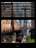 Window View with Venetian Blinds: Roosevelt Island Tram and Ed Koch Queensboro Bridge Photographic Print by Philippe Hugonnard