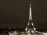 Cityscape Paris with Eiffel Tower at Night - Sepia - Tone Photography Photographic Print by Philippe Hugonnard