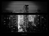Window View with Venetian Blinds: 42nd Street and Times Square by Night - Midtown Manhattan Photographic Print by Philippe Hugonnard