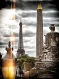 Instants of Series - Place de la Concorde with Obelisk and Eiffel Tower View - Paris, France Lámina fotográfica por Philippe Hugonnard