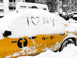 Yellow Cab in the Snow Photographic Print by Philippe Hugonnard