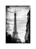 Eiffel Tower, Paris, France - White Frame and Full Format - Vintique Black and White Photography Photographic Print by Philippe Hugonnard
