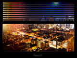 Window View with Venetian Blinds: Skyscrapers and Buildingsand Times Square by Night Photographic Print by Philippe Hugonnard