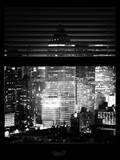 Window View with Venetian Blinds: Skyscrapers and Buildings at Times Square by Night - Manhattan Photographic Print by Philippe Hugonnard