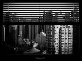 Window View with Venetian Blinds: Skyline of Times Square Photographic Print by Philippe Hugonnard