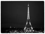 Cityscape Paris with Eiffel Tower at Night - White Frame - Black and White Photography Photographic Print by Philippe Hugonnard