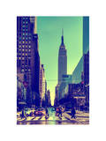 Urban Street Scene with the Empire State Building in Winter Photographic Print by Philippe Hugonnard