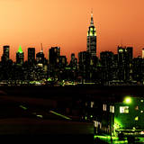 Skyline of the Skyscrapers of Manhattan by Orange Night from Brooklyn Photographic Print by Philippe Hugonnard