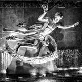 The Prometheus Statue with Snow by Night at Rockefeller Center in New York Photographic Print by Philippe Hugonnard