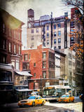 Instants of NY Series - Urban Street Scene with Yellow Taxi in Winter Photographic Print by Philippe Hugonnard