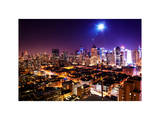 Landscape by Pink Night of Manhattan Photographic Print by Philippe Hugonnard