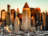Manhattan Buildings Sunset in Winter Photographic Print by Philippe Hugonnard