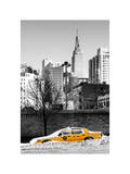 NYC Yellow Taxi Buried in Snow near the Empire State Building in Manhattan Photographic Print by Philippe Hugonnard