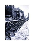 Urban Scene with NYC Citibike in the Snow in Winter Photographic Print by Philippe Hugonnard