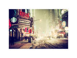 Snowstorm on 42nd Street in Times Square by Night Photographic Print by Philippe Hugonnard
