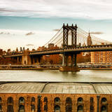 Manhattan Bridge with the Empire State Building at Sunset from Brooklyn Reproduction photographique par Philippe Hugonnard