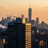 Cityscape Manhattan at Sunset in Winter Photographic Print by Philippe Hugonnard