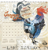 Roosters  Evelia Art - 2015 Calendar Calendars