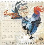 Roosters  Evelia Art - 2015 Calendar Calendarios