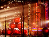 Christmas Decorations in front of the Radio City Music Hall in the Snow Photographic Print by Philippe Hugonnard