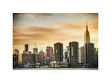 Skyline with Empire State Building at Sunset Photographic Print by Philippe Hugonnard