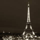 Cityscape Paris with Eiffel Tower at Night - Sepia - Tone Photography - Square Format Photography Photographic Print by Philippe Hugonnard