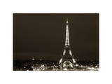 Cityscape Paris with Eiffel Tower at Night - White Frame and Full Format - Sepia - Tone Photography Photographic Print by Philippe Hugonnard