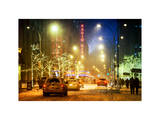 Street Scenes and Urban Nightfall Landscape in Winter under the Snow Photographic Print by Philippe Hugonnard