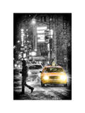 Yellow Taxis at Times Square during a Snowstorm by Night Photographic Print by Philippe Hugonnard