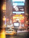 NYC Yellow Taxi at Times Square during a Snowstorm by Night Photographic Print by Philippe Hugonnard