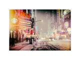 Instants of NY Series - Snowstorm on 42nd Street in Times Square by Night Photographic Print by Philippe Hugonnard