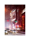 Snowstorm on 42nd Street in Times Square by Red Night Photographic Print by Philippe Hugonnard