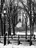 Winter Snow with Street Lamp in Central Park View Photographic Print by Philippe Hugonnard