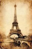 Eiffel Tower - Rustic Obrazy