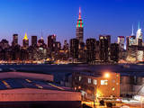 Skyline of the Skyscrapers of Manhattan by Nightfall from Brooklyn Photographic Print by Philippe Hugonnard