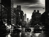 Urban Street Scene with NYC Yellow Taxis and the One World Trade Center of Manhattan in Winter Photographic Print by Philippe Hugonnard