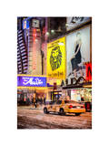 Urban Scene with Yellow Taxi Photographic Print by Philippe Hugonnard
