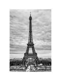 Eiffel Tower, Paris, France - White Frame and Full Format - Black and White Photography Photographic Print by Philippe Hugonnard
