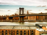 Manhattan Bridge with the Empire State Building at Sunset from Brooklyn Photographic Print by Philippe Hugonnard