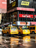 Urban Street Scene with NYC Yellow Taxis - Cabs in Winter Photographic Print by Philippe Hugonnard