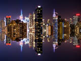 Double Sided Series - Skyscrapers of Times Square in Manhattan Night Photographic Print by Philippe Hugonnard